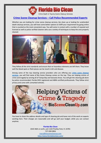 Crime Scene Cleanup Services – Call Police Recommended
