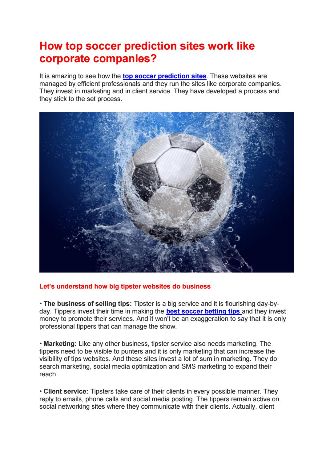 How top soccer prediction sites work like corporate