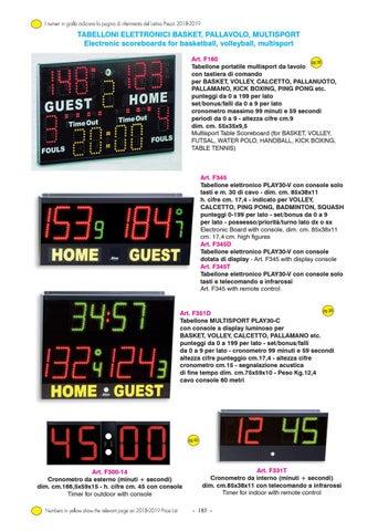 f3244488ce I numeri in giallo indicano la pagina di riferimento del Listino Prezzi  2018-2019. TABELLONI ELETTRONICI BASKET, PALLAVOLO, MULTISPORT Electronic  ...
