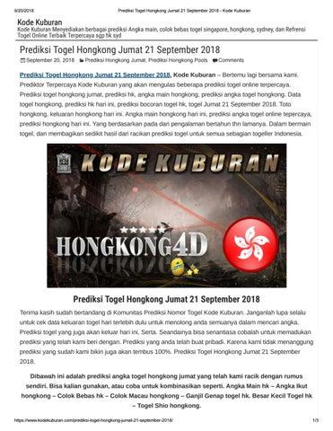 Prediksi Togel Hongkong Sabtu 1 September 2018 by suma camsom - issuu 4f5fe984e0