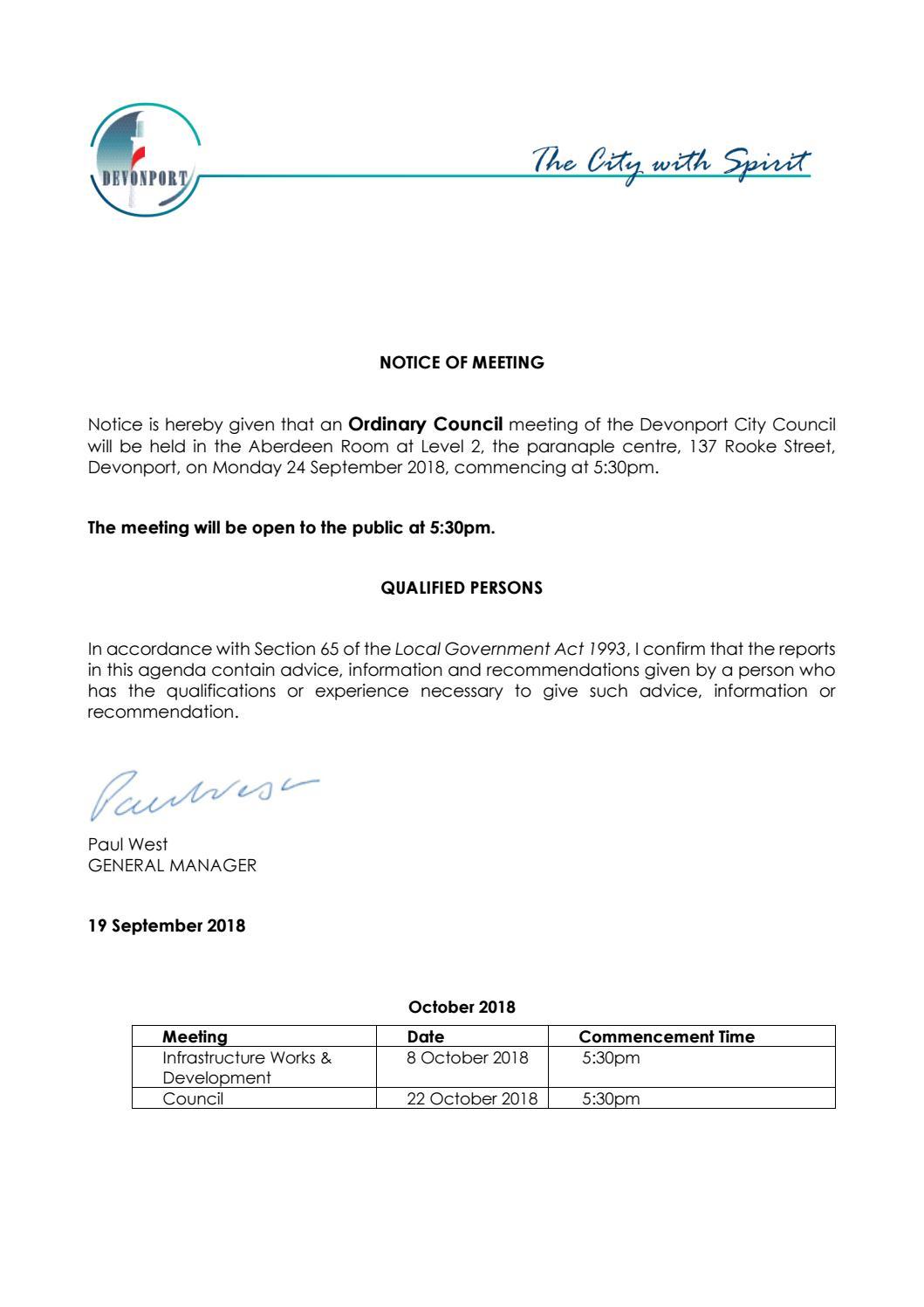 Agenda - Council Meeting - 24 September 2018 by Devonport City
