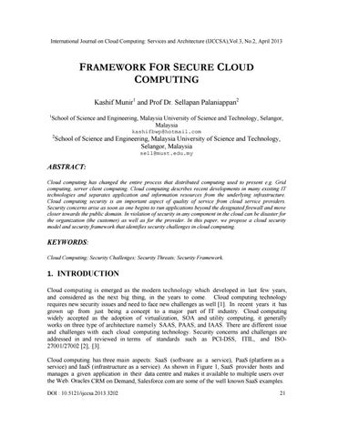 Framework For Secure Cloud Computing By Cloud Computing Issuu
