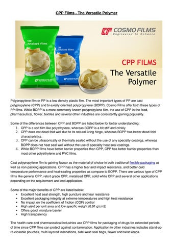 CPP Films - The Versatile Polymer by Cosmo Films Limited - issuu