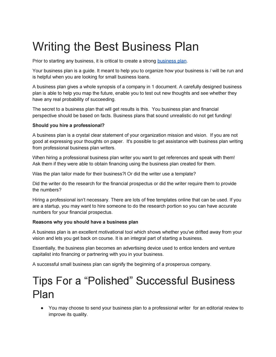 professional business plans