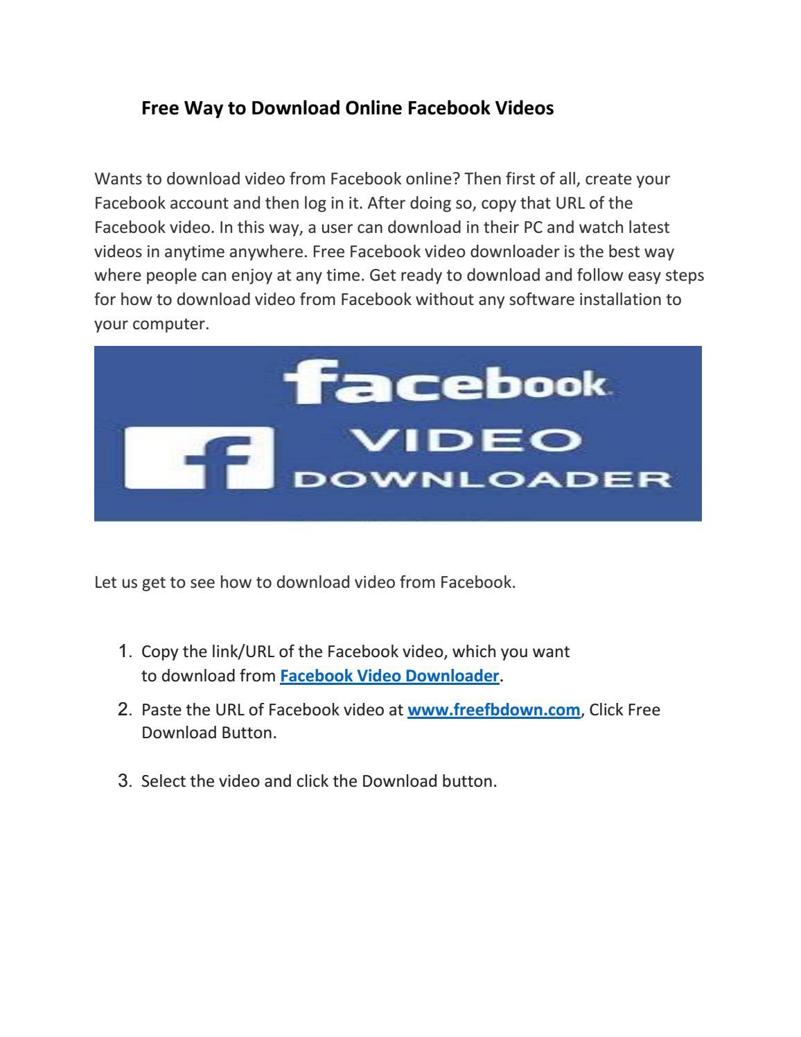 Free Way to Download Online Facebook Videos by Facebook