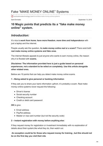 """Fake """"MAKE MONEY ONLINE"""" Systems by saints4tech - issuu"""