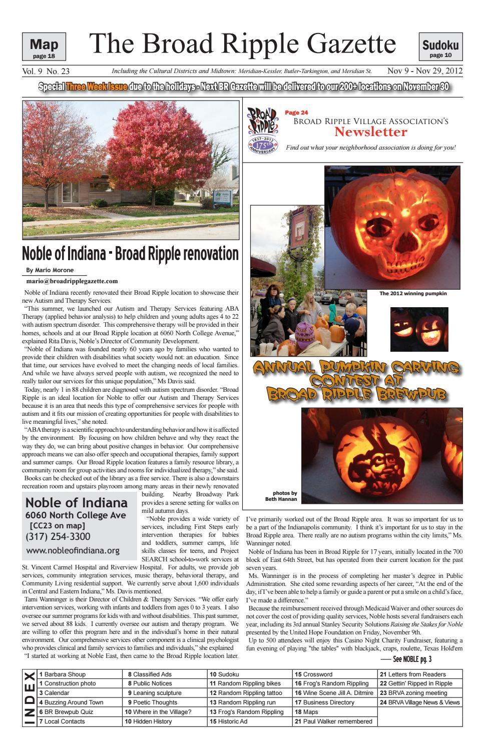 Broad Ripple Gazette Volume 09 Number 23 November 9 29 Name Cards Holder Binder 6214 2012 By Issuu