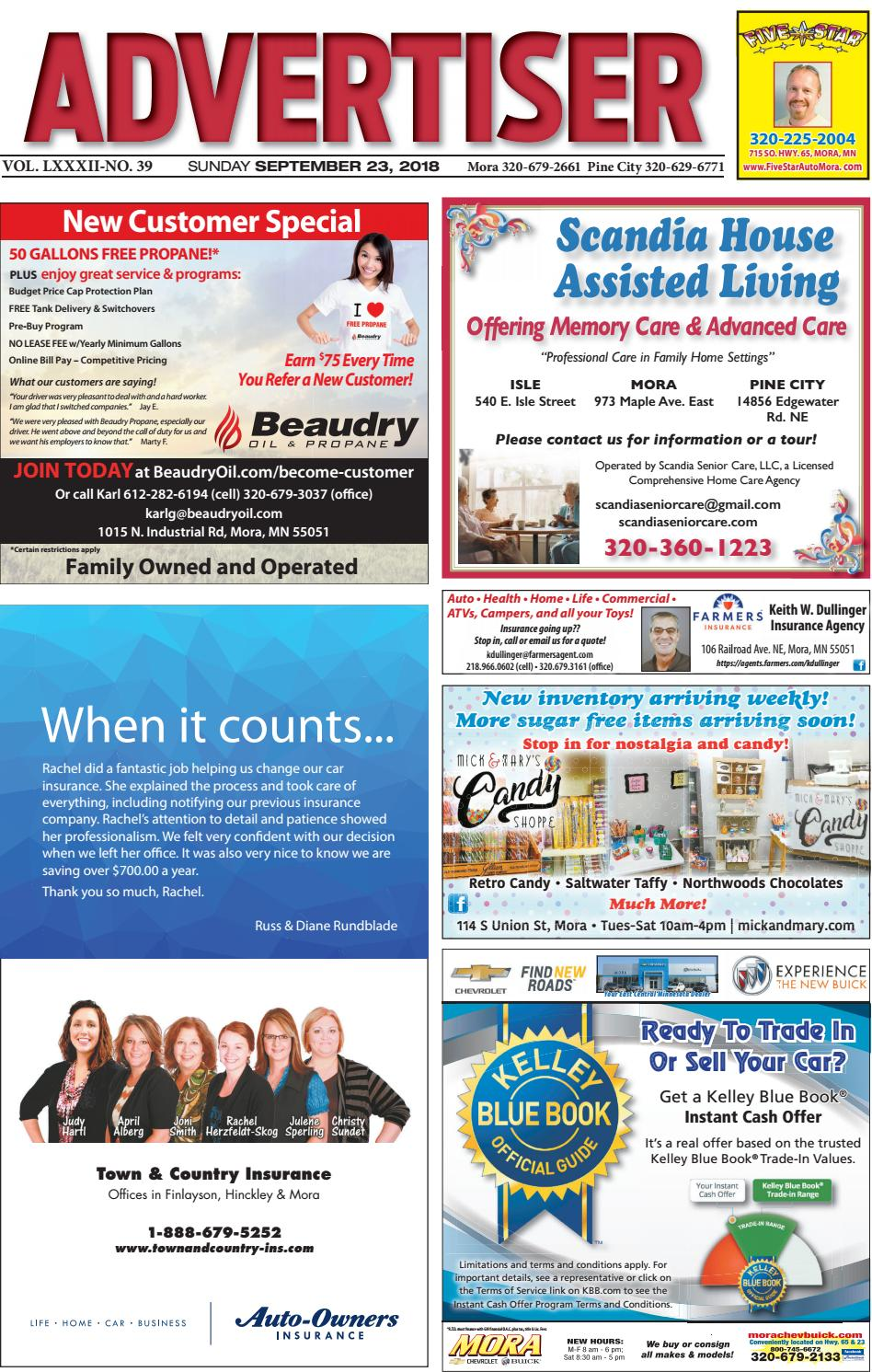 Mora Advertiser 92318 by Kanabec County Times/Pine City