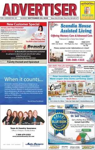 3094d22495 Mora Advertiser 92318 by Kanabec County Times Pine City Pioneer - issuu