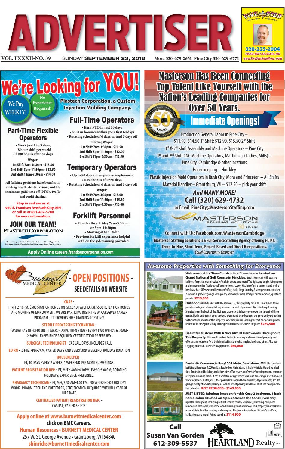 f86c5bf4e4 Pine Advertiser 92318 by Kanabec County Times Pine City Pioneer - issuu