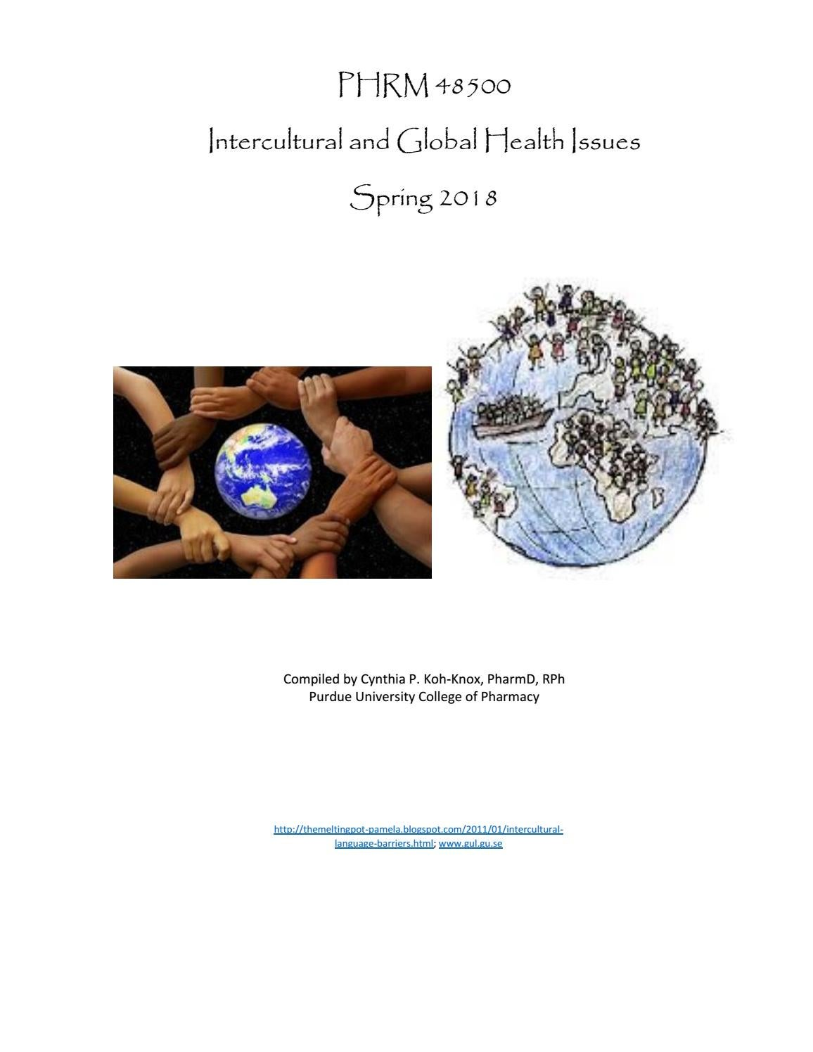 PHRM 485 Intercultural and Global Health Issues Spring 2018