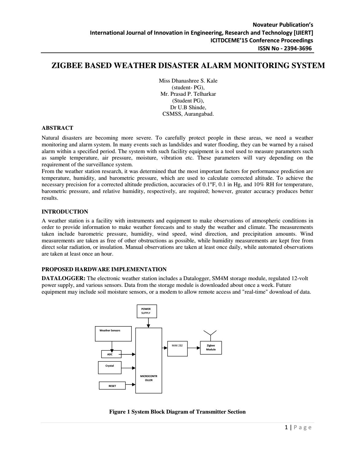 Ijiert Zigbee Based Weather Disaster Alarm Monitoring System By Figure 1 Transmitter Block Diagram Journal Issuu