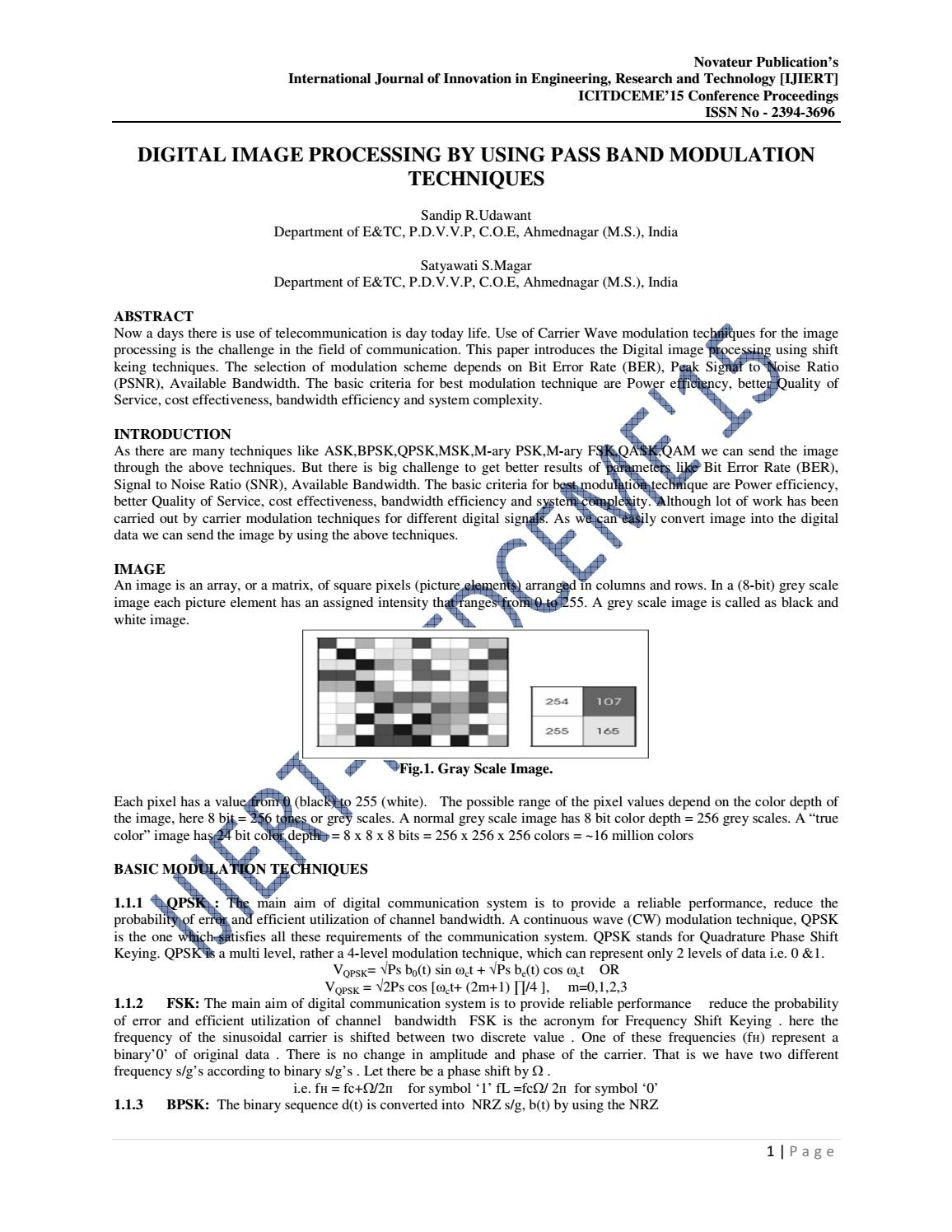 Ijiert Digital Image Processing By Using Pass Band Modulation M Ary Psk Block Diagram Techniques Journal Issuu