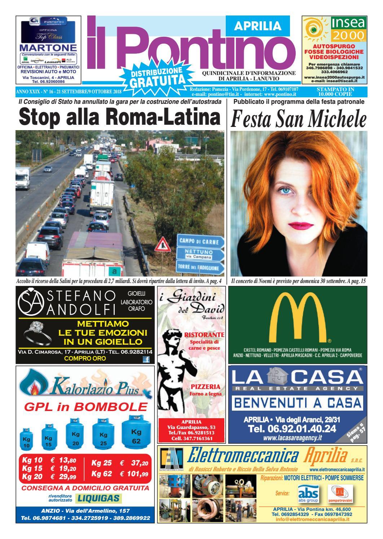 Il Pontino Aprilia - Anno XXIX - N.16 - 21 Settembre 9 Ottobre 2018 by Il  Pontino Il Litorale - issuu 83c44a1815a9