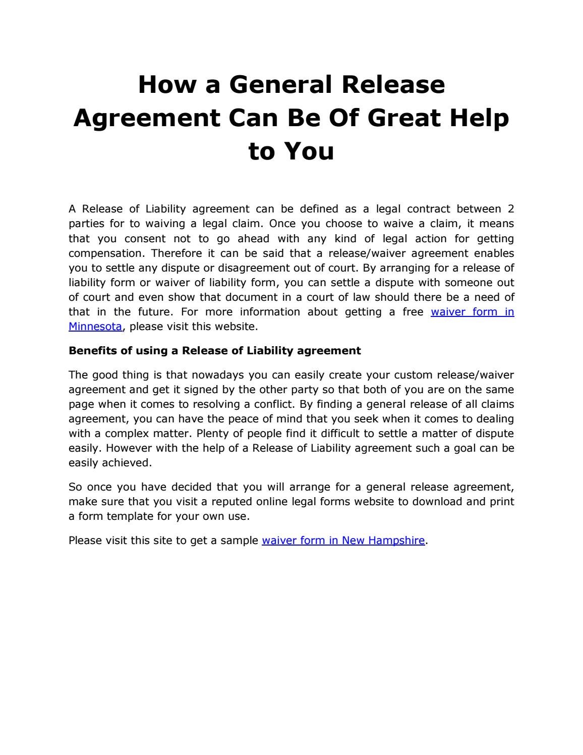 How A General Release Agreement Can Be Great Help To You