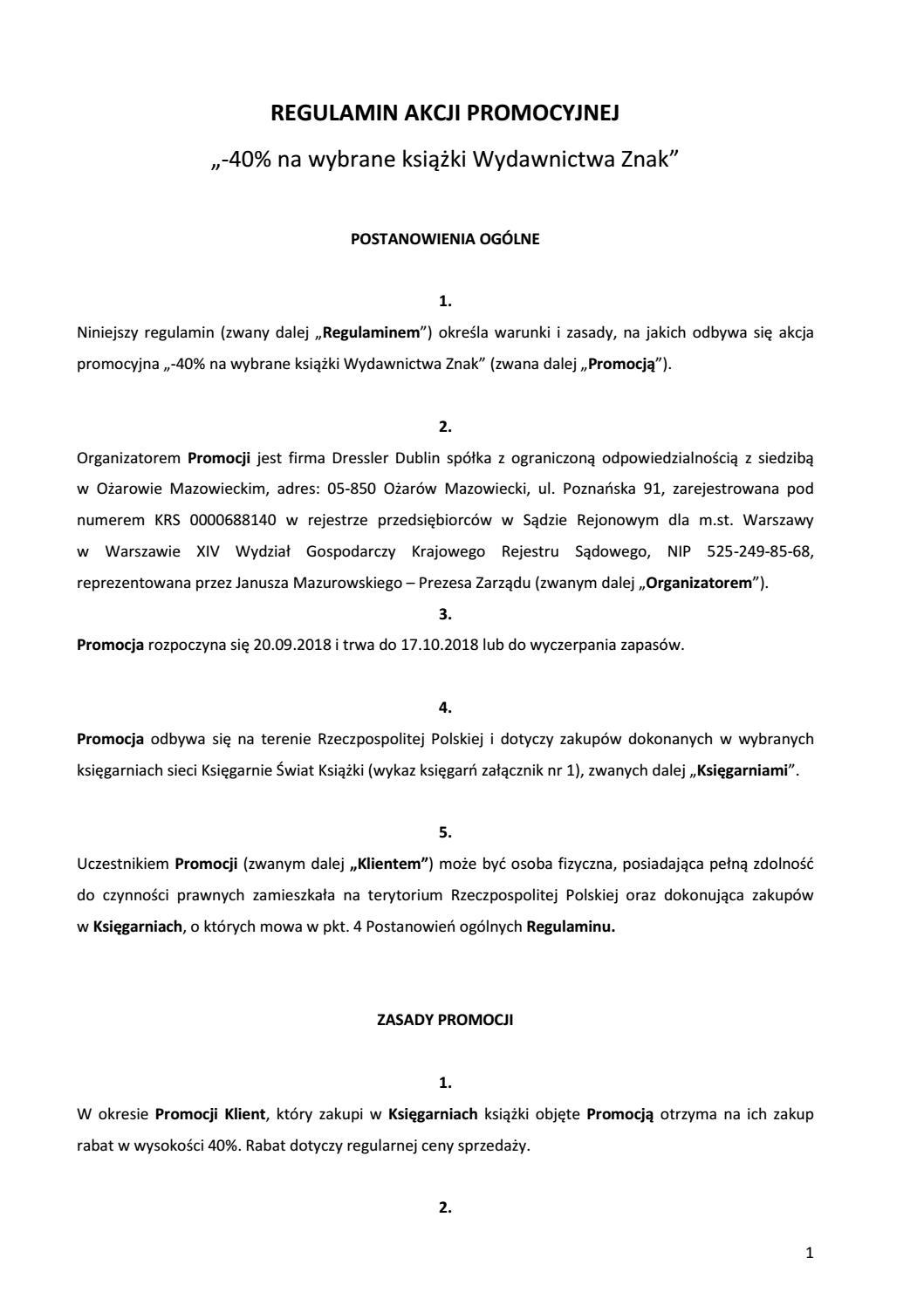 Księgarnie świat Książki Regulamin Akcji 40 Na Wybrane