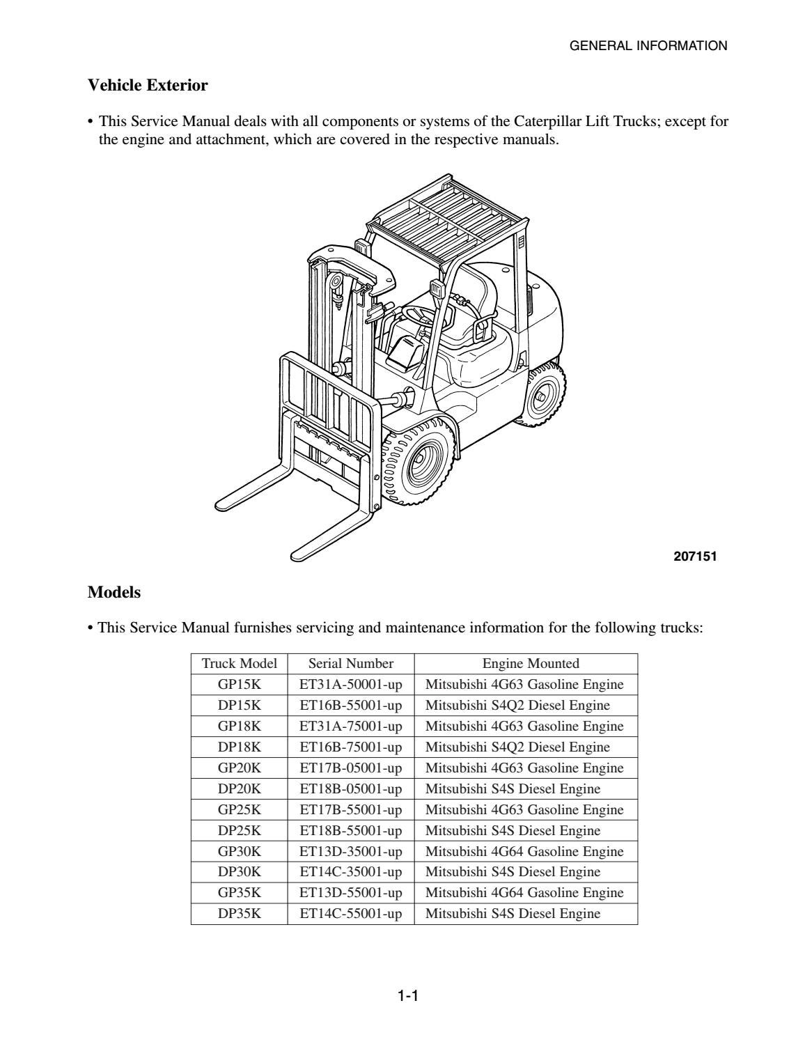 mitsubishi 4g63 engine diagram caterpillar cat dp30k mc forklift lift trucks service repair  caterpillar cat dp30k mc forklift lift