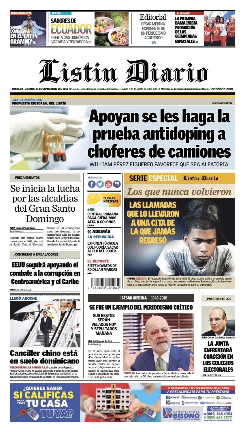 LD 21-09-2018 by Listín Diario - issuu