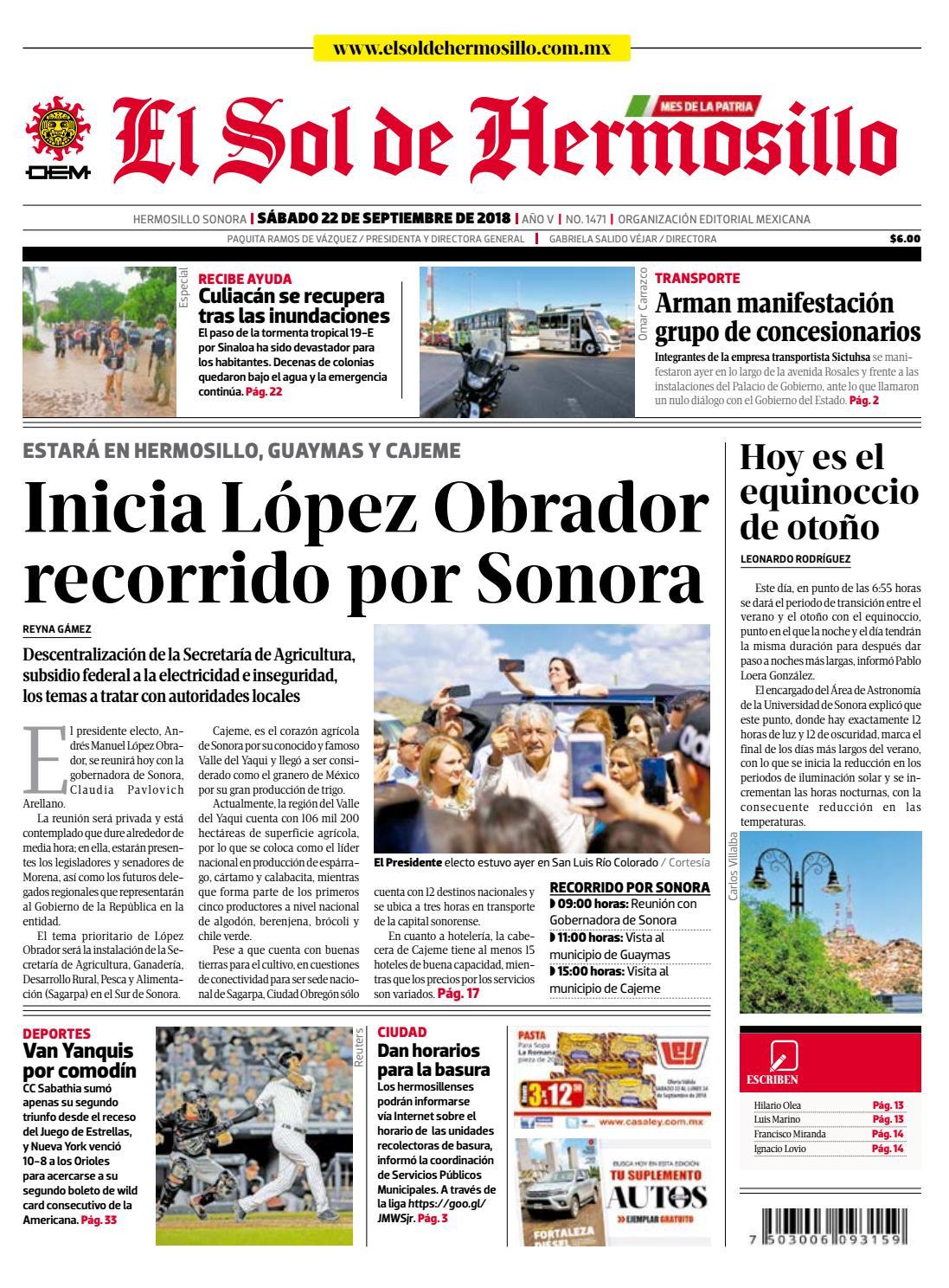 Edición impresa sábado 22 de septiembre de 2018 by El Sol de Hermosillo -  issuu cb153286fa0f7