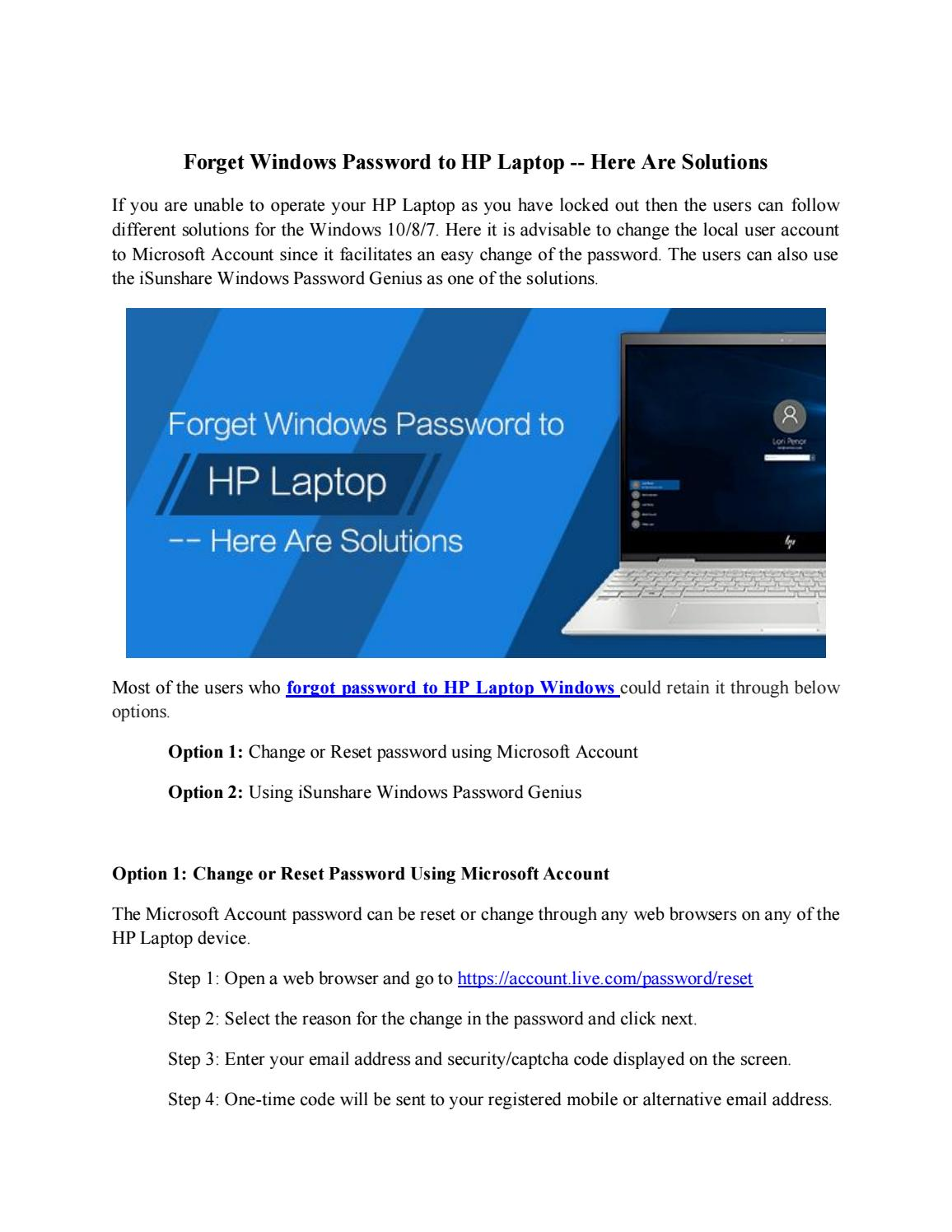 Options to reset Windows login password HP laptop by