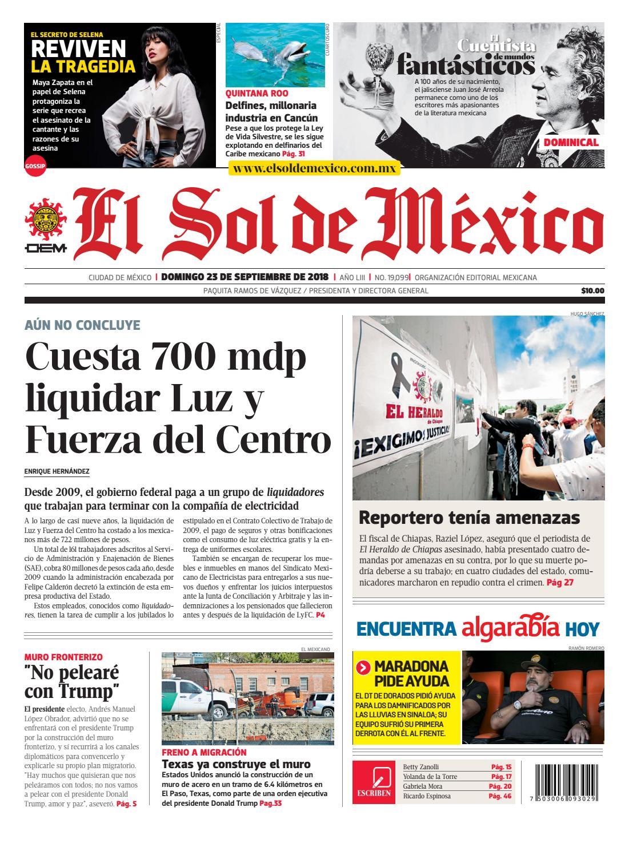 4c8f0f9be73f El Sol de México a 23 de septiembre del 2018 by El Sol de México - issuu