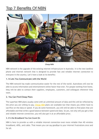 Top 7 Benefits Of NBN by Tele Choice - issuu