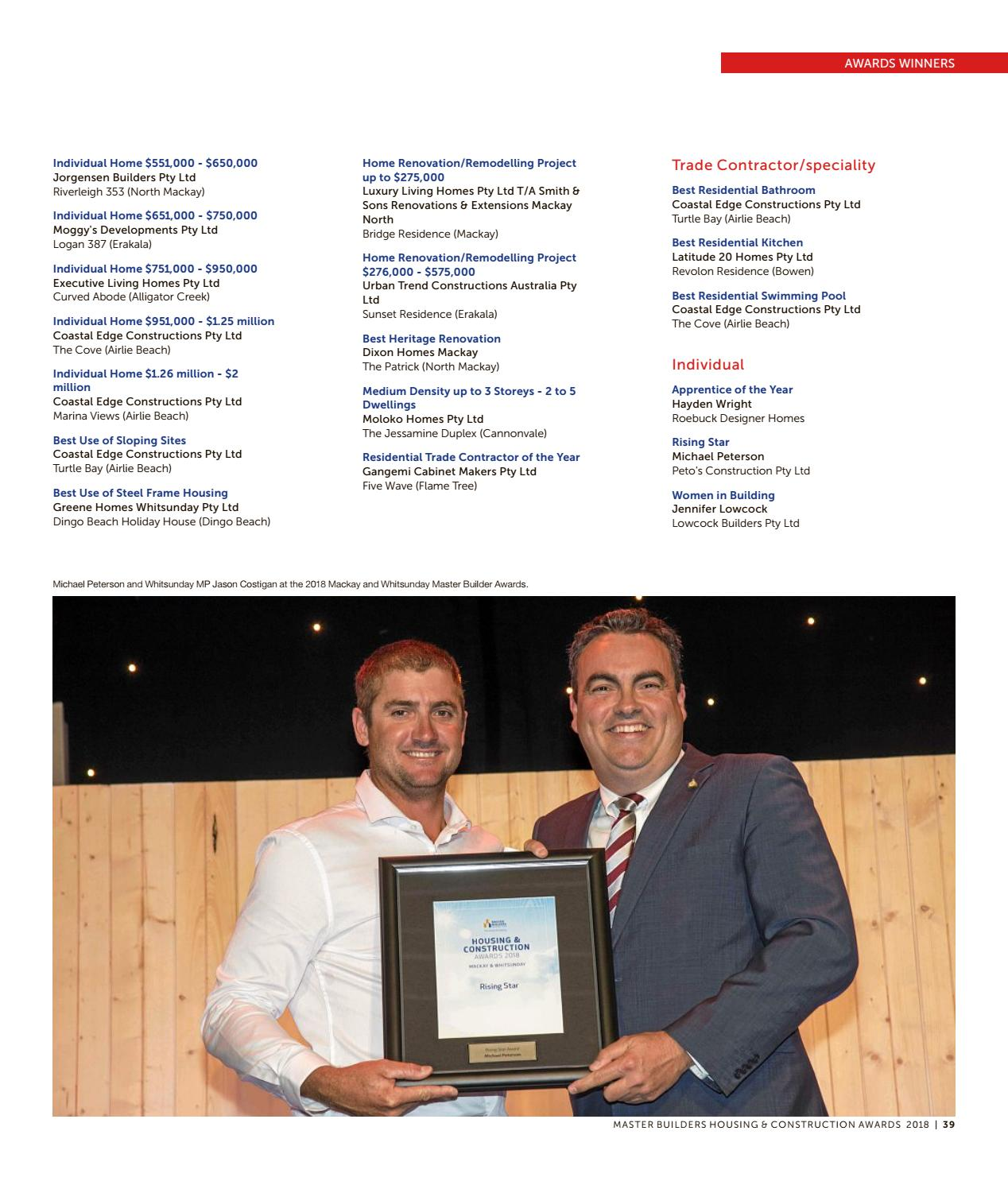 Mackay and Whitsunday Excellence in Building 2018 by NRM Custom ...