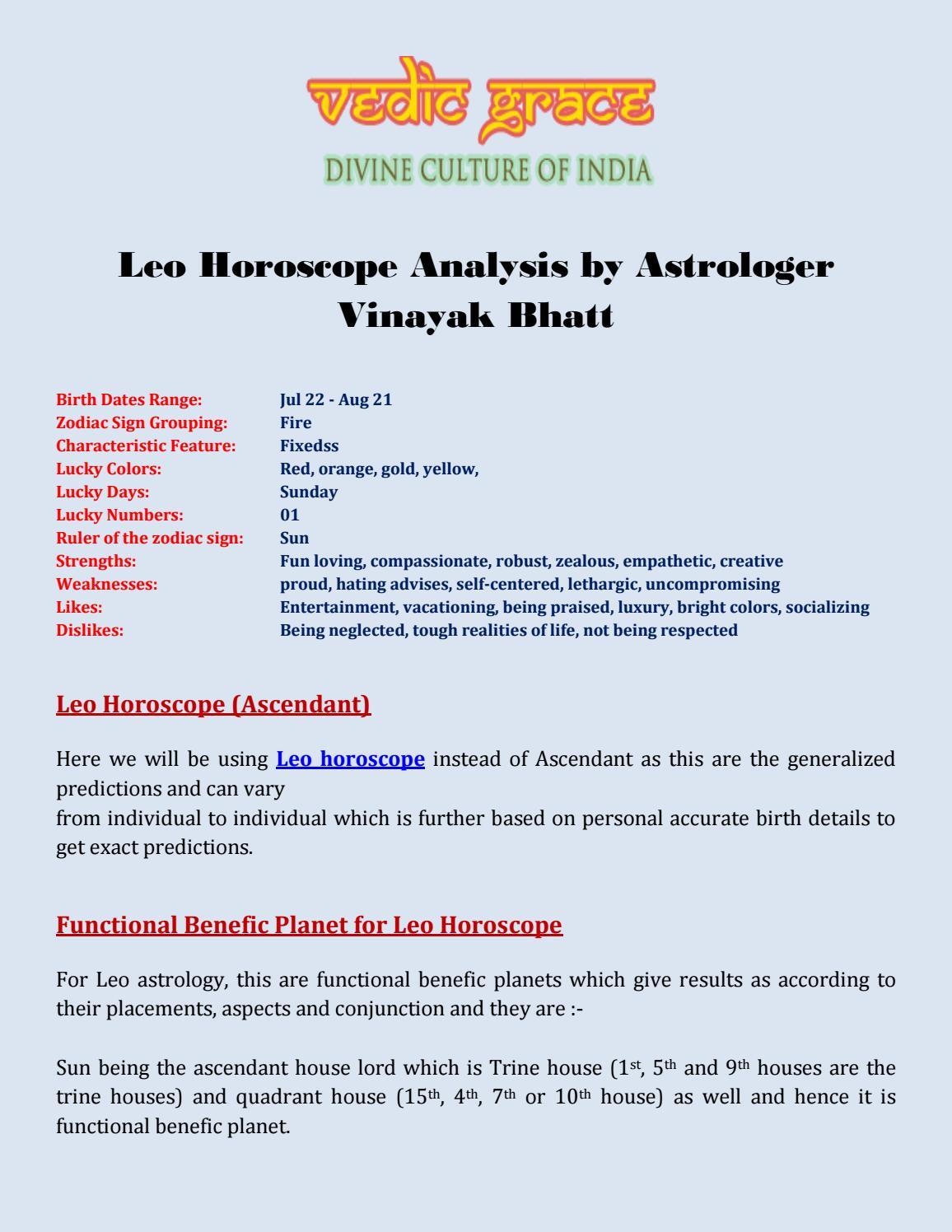 Leo Horoscope Analysis by Astrologer Vinayak Bhatt by