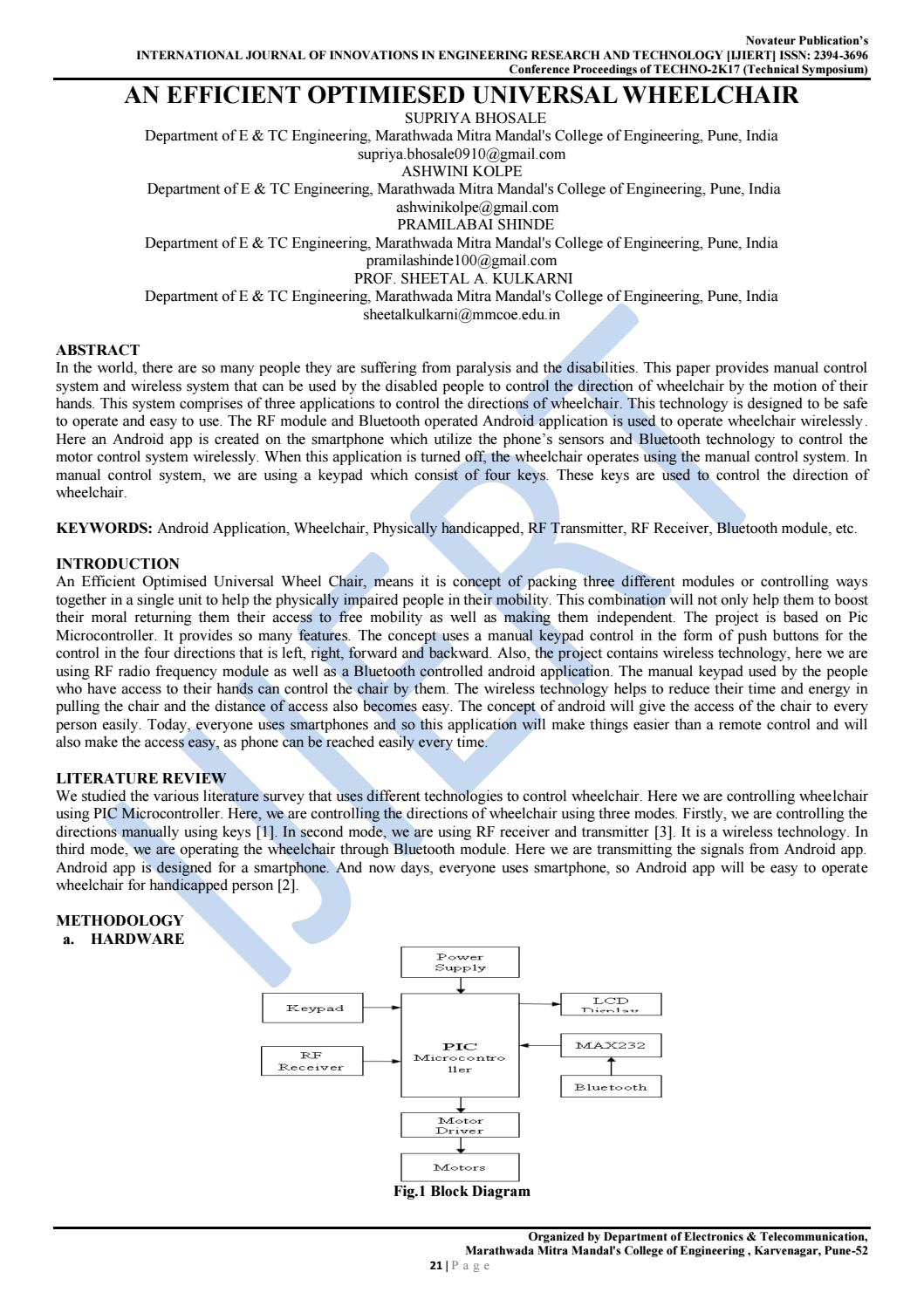 Ijiert An Efficient Optimiesed Universal Wheelchair By Fig A Block Diagram Of Smart Transmitter Journal Issuu