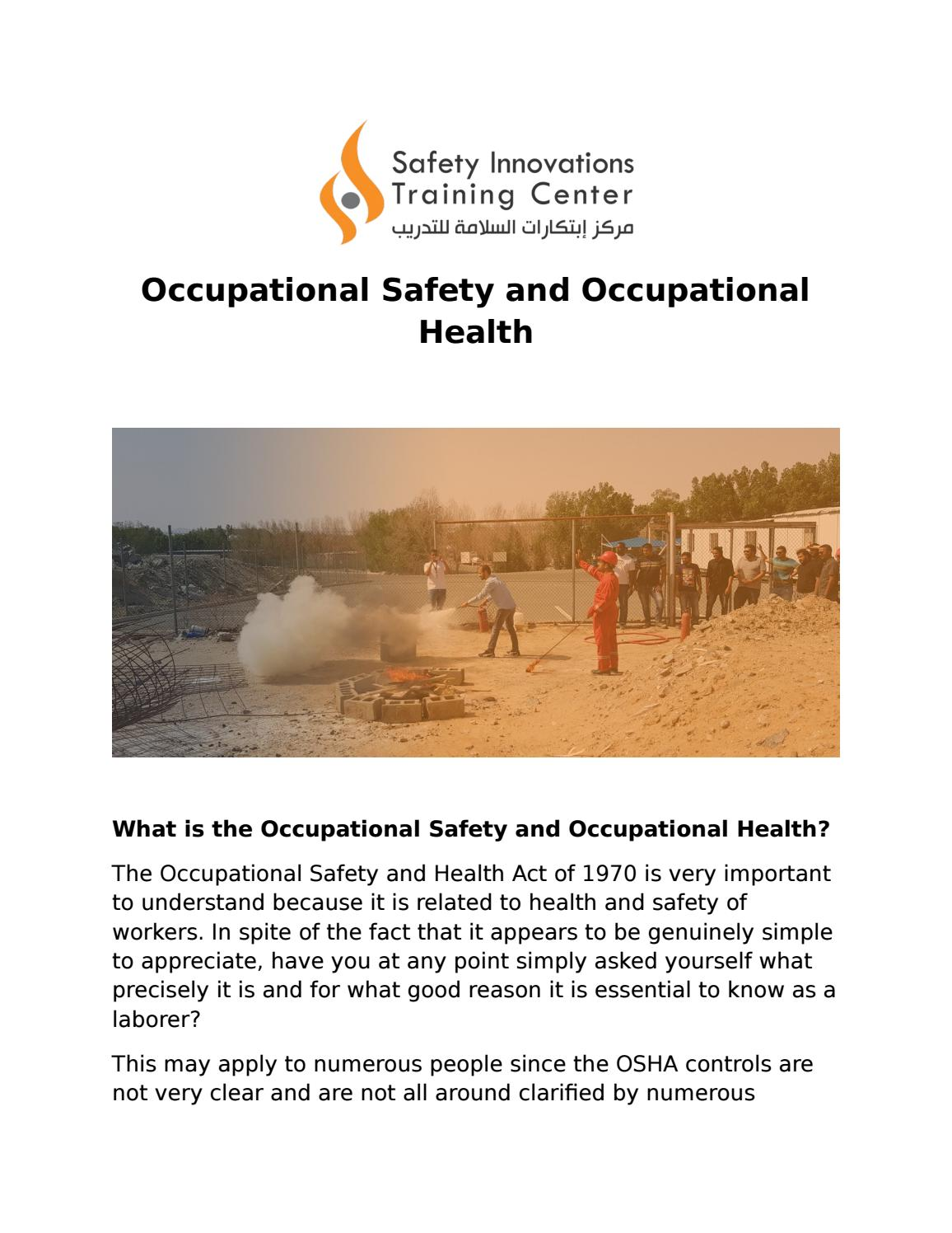 Occupational Safety And Health By Safety Innovation Training Center Issuu