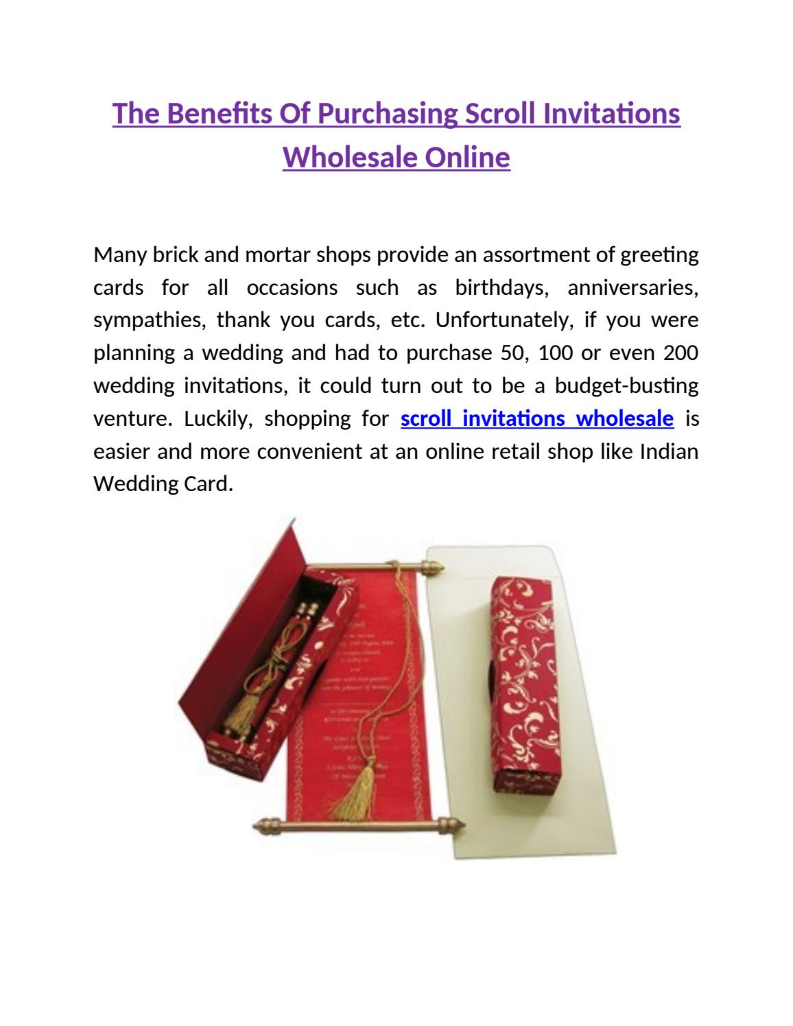 Scroll Invitations Wholesale Online by Indian Wedding Card - issuu
