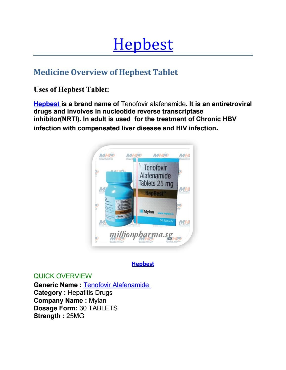 Hepbest 25 mg Tablet : Uses, Price, Side Effects, -Mylan