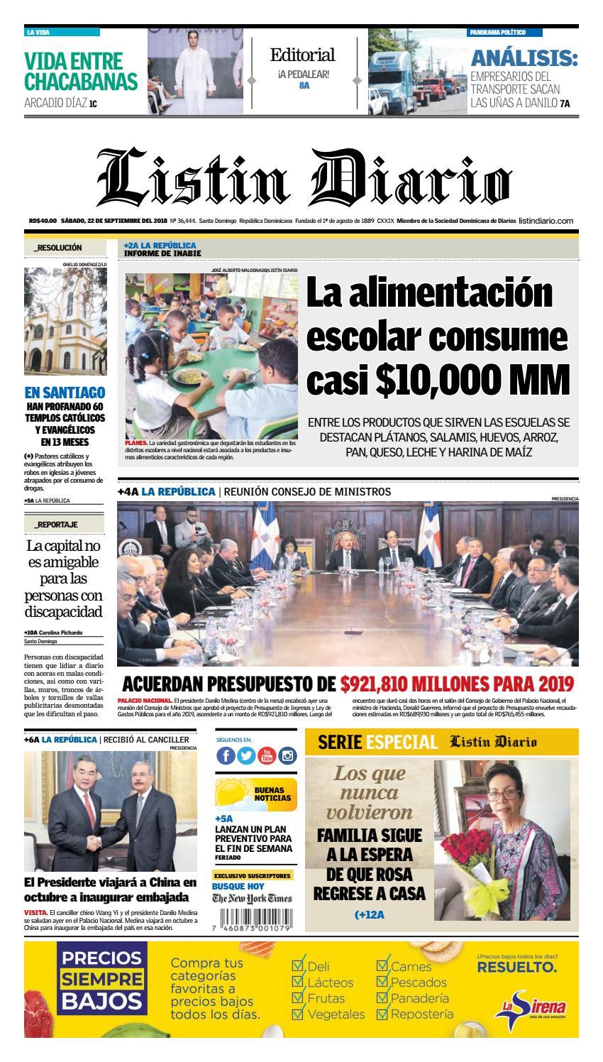 finest selection 3f35e d37ea LD 22-09-2018 by Listín Diario - issuu