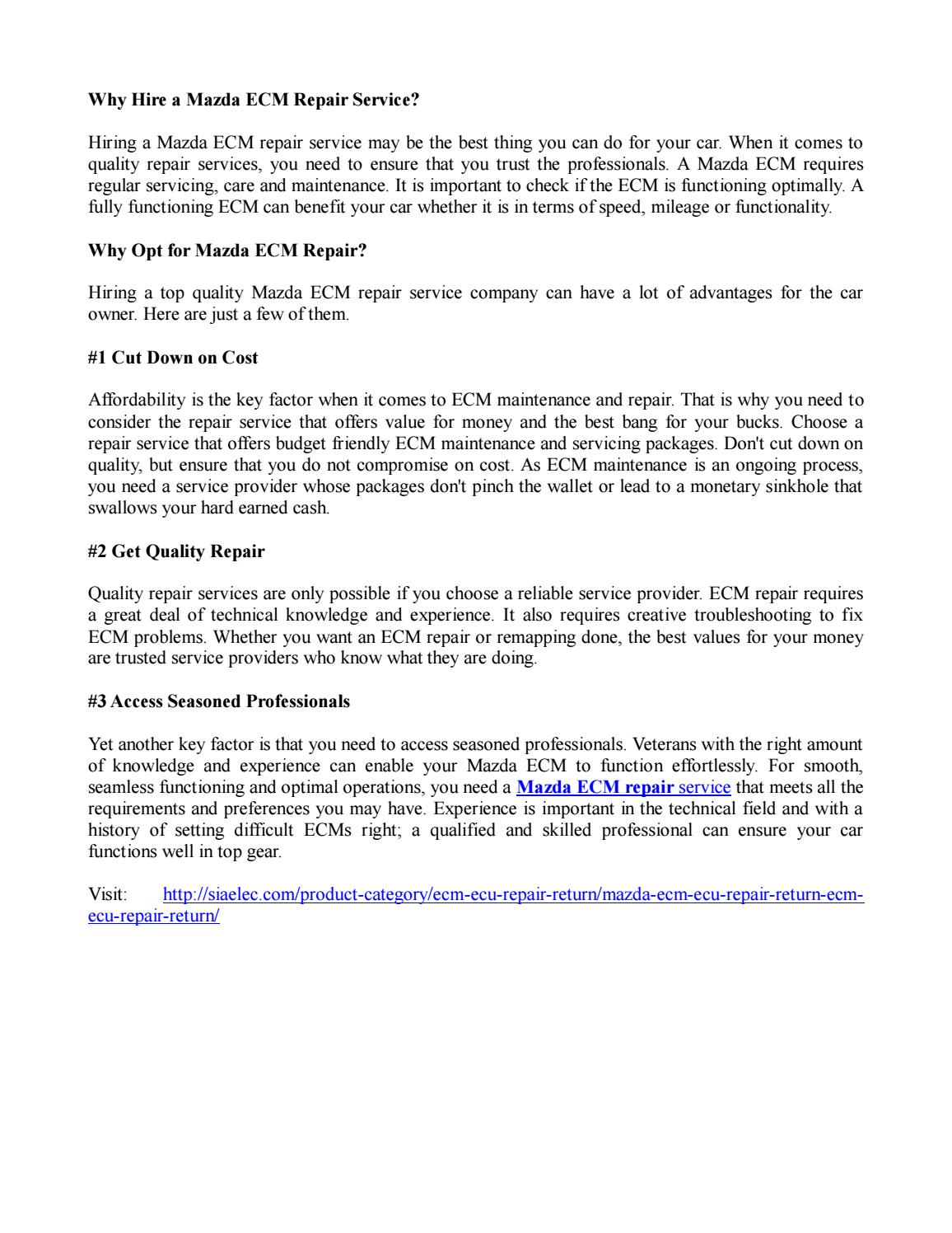 Hire A Mazda Ecm Repair Service By Sia Electronics Issuu
