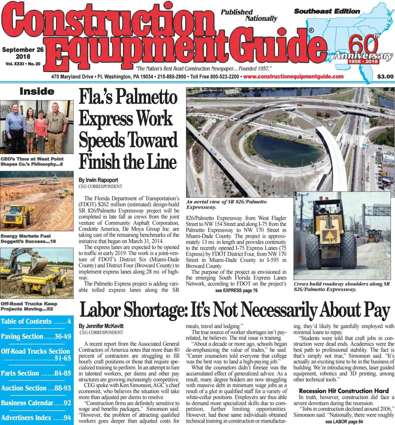 Southeast 20 September 26, 2018 by Construction Equipment Guide ...