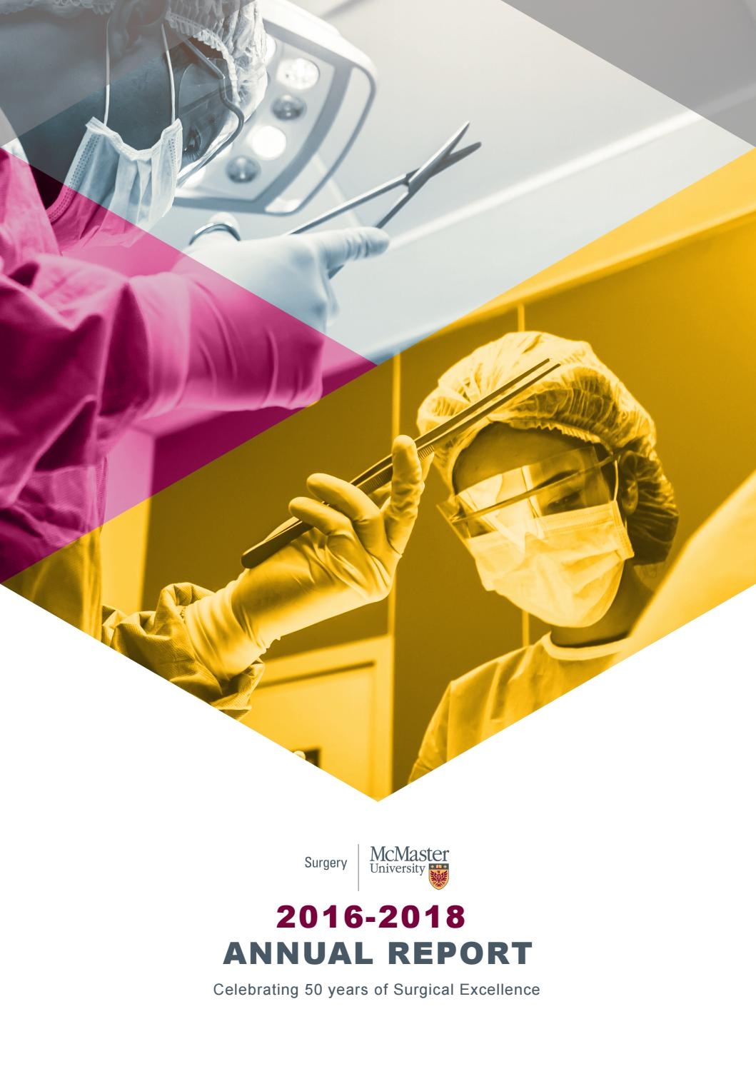 Annual Report 2016 2018 By Mcmaster University Department Of