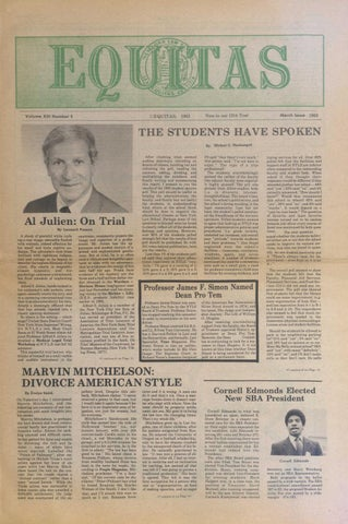 Equitas, vol XIII, number 4, March, 1983 by New York Law School