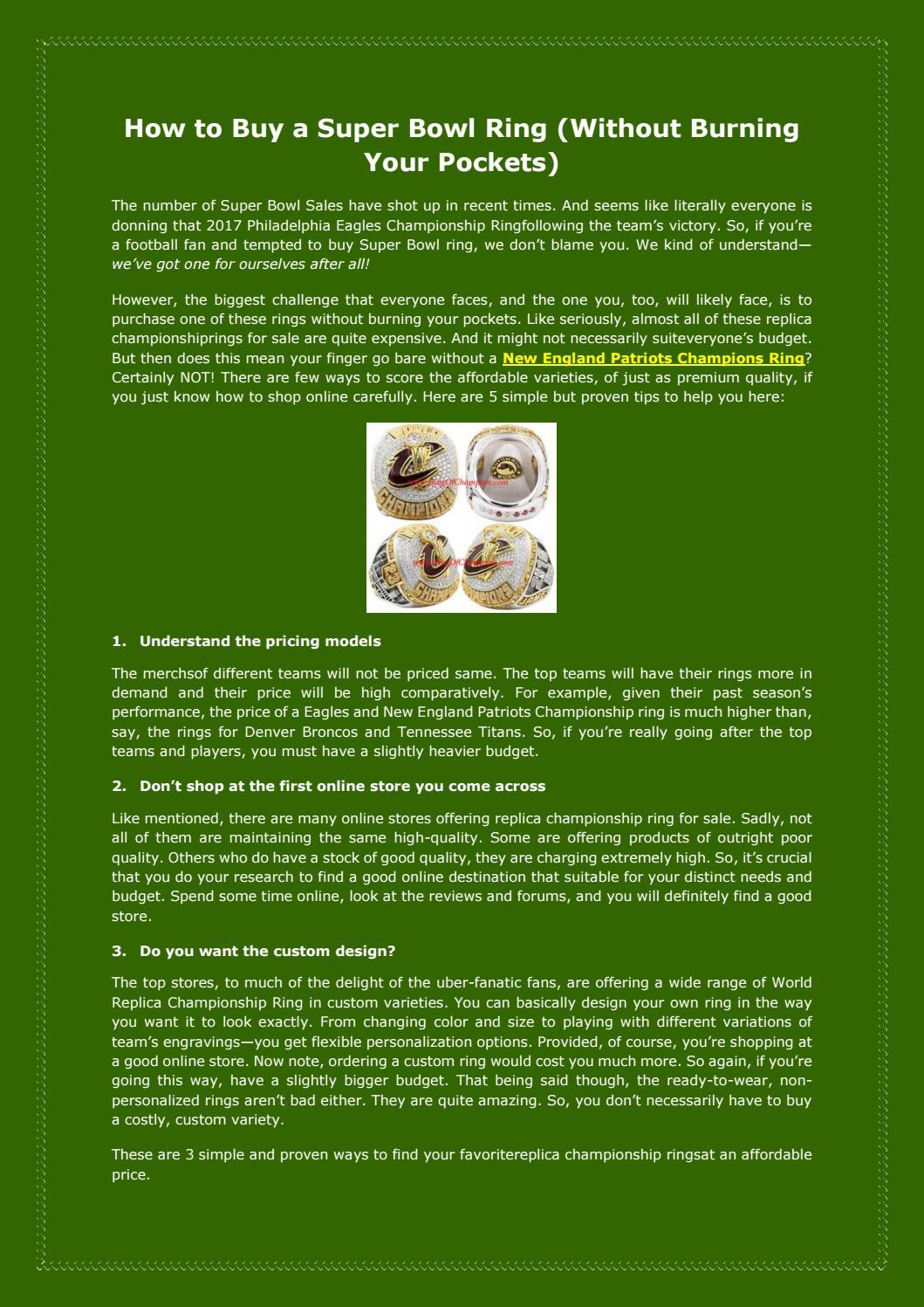 8dccf600b3 Buy Super Bowl Ring | World Series Rings for Sale by Henry B Fuller ...