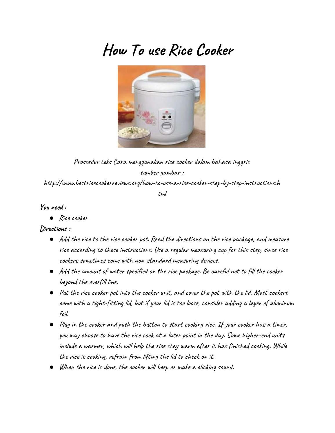 How To Use Rice Cooker By Shirleybkimbler Issuu