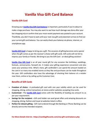visa gift card balance by Vanilla Giftcards - issuu