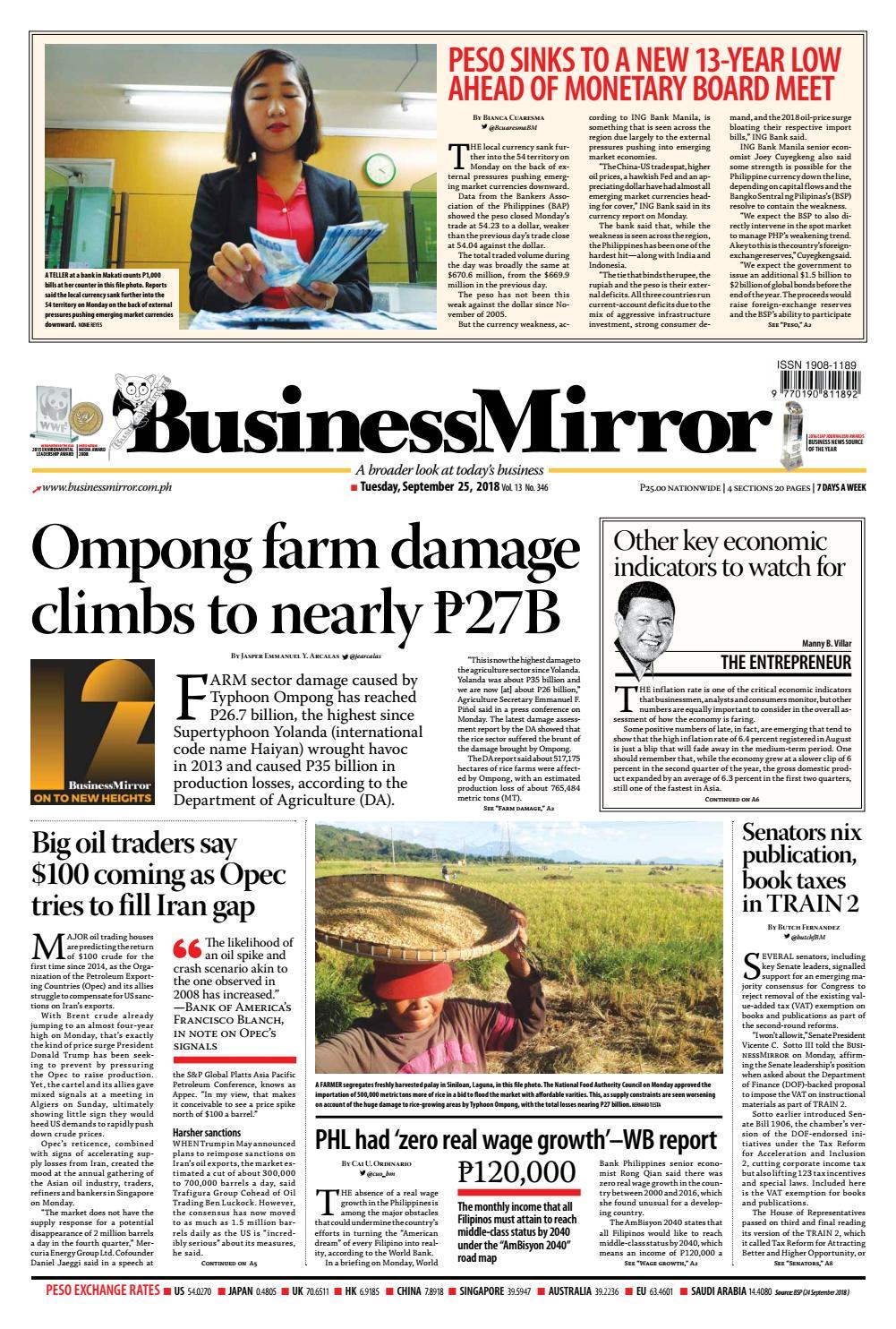 BusinessMirror September 25, 2018 by BusinessMirror - issuu