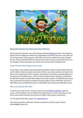 Online Slot Game Fortune Day Free Review By Lm333 Malaysia Casino Issuu