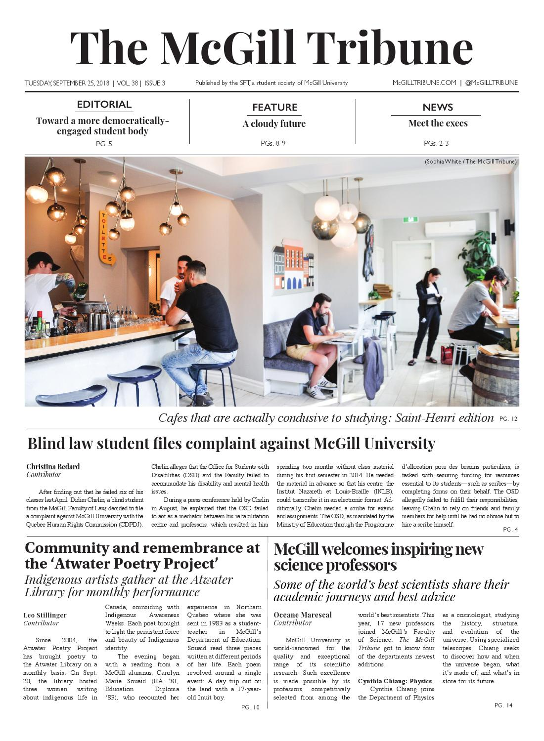 The McGill Tribune Volume 38 Issue 3 by The McGill Tribune