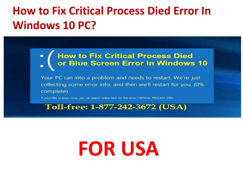 critical error windows 10 solution