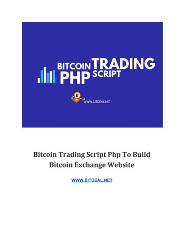 Bitcoin trading script php to build bitcoin exchange website by
