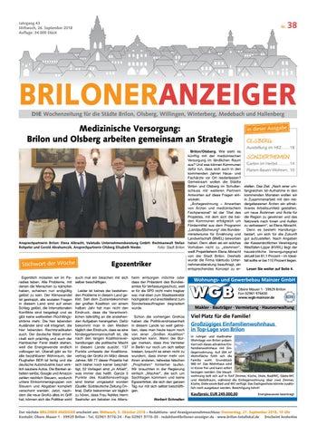 Briloner Anzeiger Ausgabe Vom 26 09 2018 Nr 38 By Brilon Totallokal