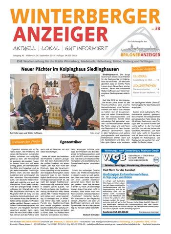 Winterberger Anzeiger Ausgabe Vom 26 09 2018 Nr 38 By Brilon