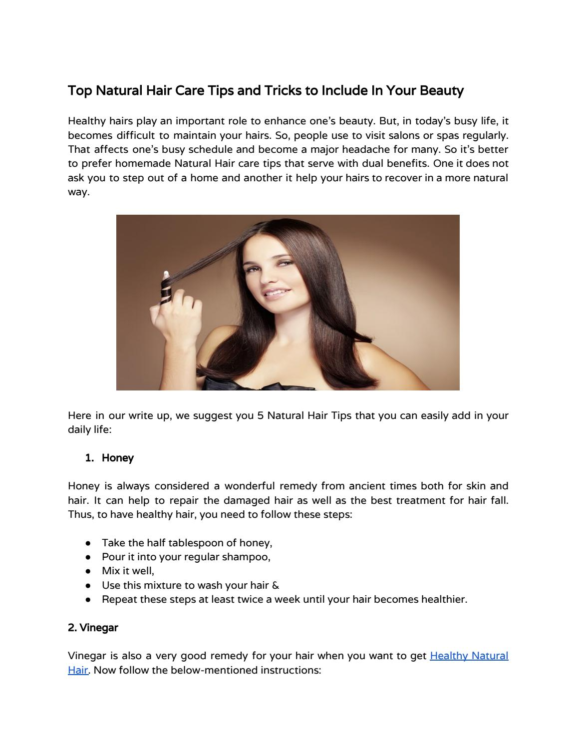 Top Natural Hair Care Tips In Your Beauty By Sheetal Goswami Issuu