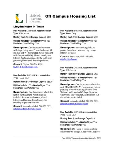 Off Campus Housing List - September 2018 by Lakeland College