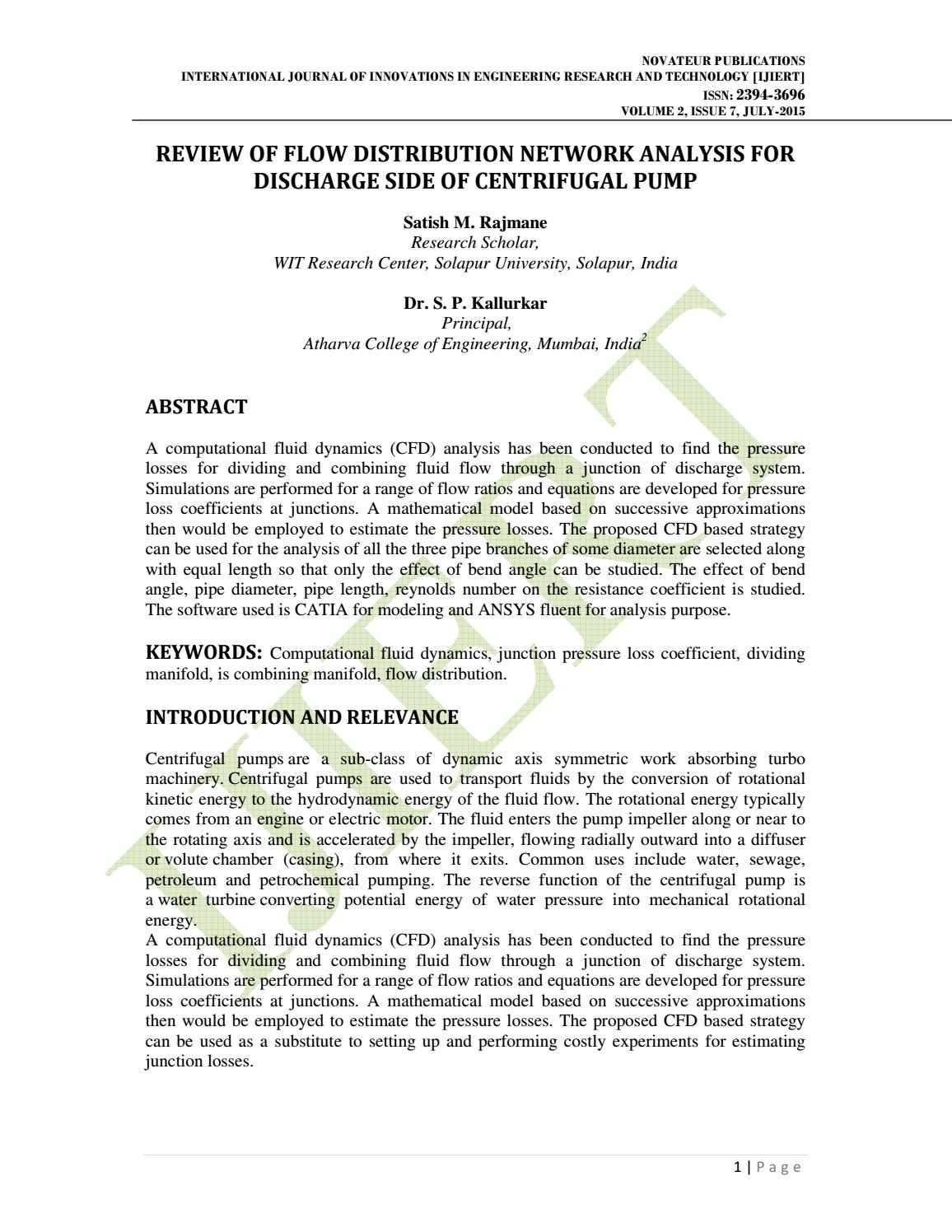 ijiert- REVIEW OF FLOW DISTRIBUTION NETWORK ANALYSIS FOR